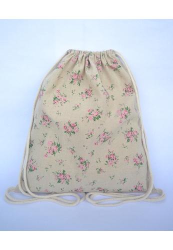 The Twinees beige Vintage Floral Drawstring Bag TH572AC37BTESG_1