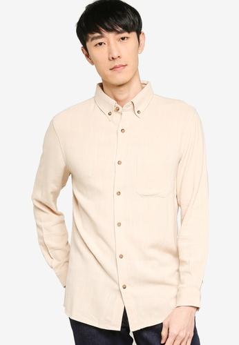 ZALORA BASICS beige Regular Button Down Linen Blend Shirt CB3BBAA0F3CDBDGS_1