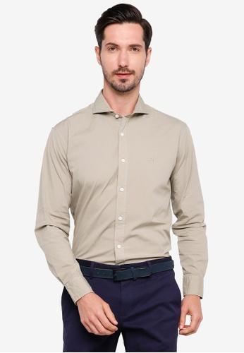 Sacoor Brothers brown Slim fit cotton elastane comfort poplin shirt in garment dye 51A51AABD96587GS_1