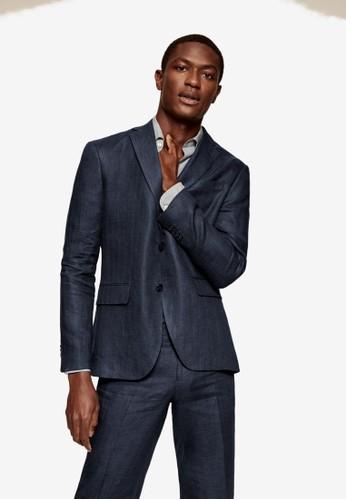MANGO Man blue Slim Fit Linen Suit Blazer EC553AAAEC2D42GS_1