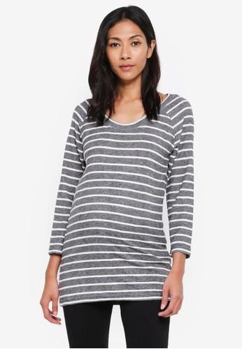 Mama.licious grey Maternity Tracy 3/4 Jersey Top 739B7AAD1E0EEAGS_1