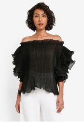 bYSI black Exaggerated Frill Blouse BY867AA0S3KBMY_1