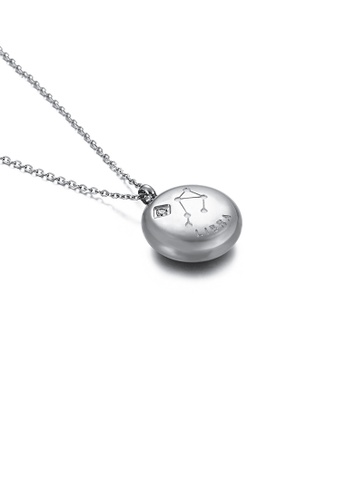 Glamorousky white Fashion and Simple Twelve Constellation Libra 316L Stainless Steel Pendant with Cubic Zirconia and Necklace 2A64AAC64A77CFGS_1