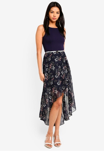 Forever New multi and navy Danielle Hi-Lo Dress 821D4AADC1E839GS_1