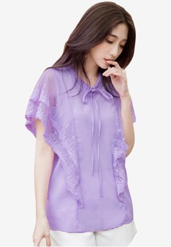 Sesura purple Fluttery Heart Lace Top 988F5AA06969FDGS_1
