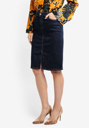 Mango blue Dark Denim Skirt 8F38EAA6116332GS_1