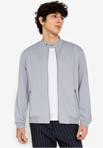 ZALORA BASICS grey Stand Collar Zipped Jacket 05271AA593EC0EGS_1