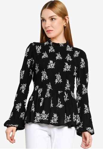 Dorothy Perkins black Black Floral Shirred Long Sleeve Top B6BEEAAF75F447GS_1