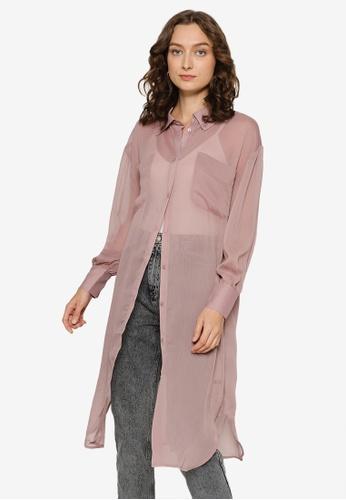 Heather purple Oversized Sheer Shirt 76472AACC65D6DGS_1