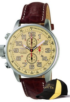 I-Force Men 46mm Case Brown Leather Strap Ivory Watch 2772 & FREE Baseball Cap