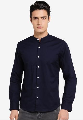 ZALORA navy Slim Fit Mandarin Collar Oxford Long Sleeve Shirt 35AFAAA935F9C5GS_1