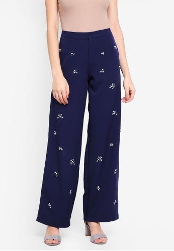 Lubna blue and navy Embellished Pants B0ACEAAE02D770GS_1