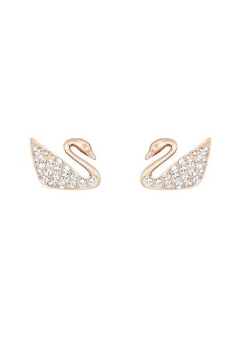 Swarovski gold Swan Pierced Earrings 3D028AC8AEBEBCGS_1