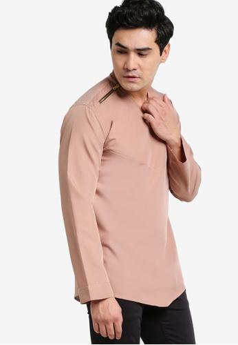 Amar Amran brown and beige Kurta Yusuf AM362AA52JXVMY_1