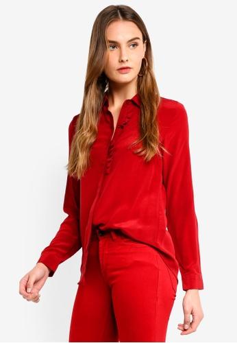 ICHI red Crush Shirt 2F3A4AAB26B9ACGS_1