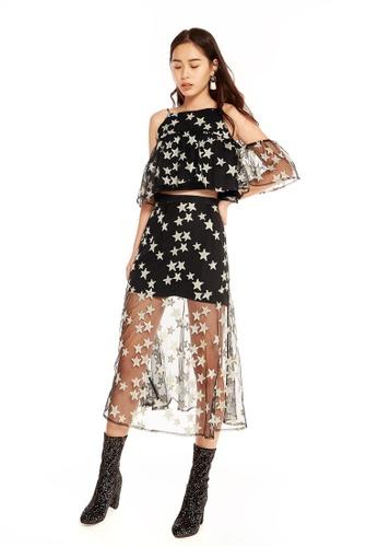 Pomelo black Midori Star Sheer Maxi Skirt 48791AA780EF1CGS_1