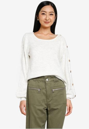 JACQUELINE DE YONG white Elanor Long Sleeve Button Knit Pullover 6821BAA3D16838GS_1