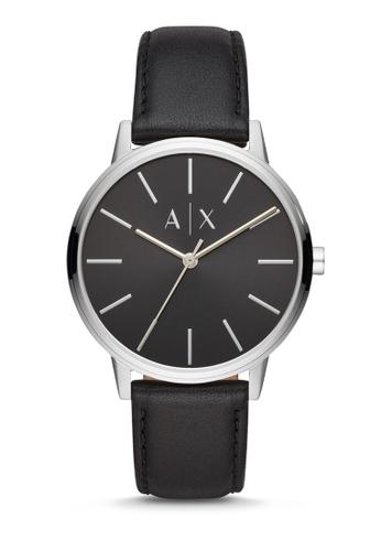 Armani Exchange black Cayde Three Hand Watch AX2703 83D3DAC6E6BF63GS_1