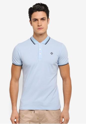 JAXON blue and multi Tipping Logo Polo Shirt A8AECAA1ED9082GS_1