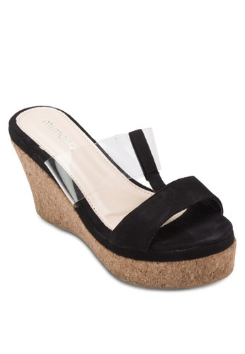 異材質拼接木esprit暢貨中心製楔形鞋, 女鞋, 楔形涼鞋