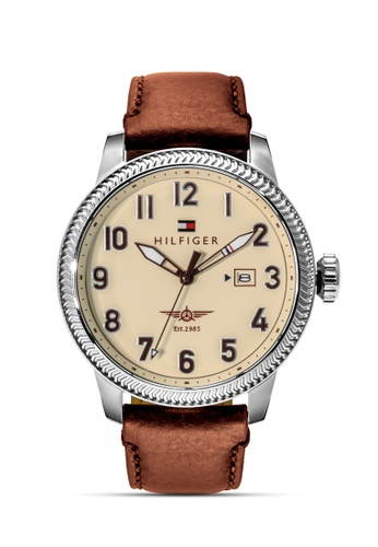 Tommy Hilfiger Watches white and brown and silver and beige Men's Leather Strap Watch TO959AC0J4NEPH_1