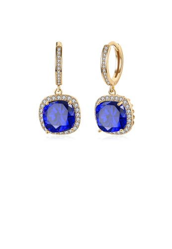 Glamorousky white Elegant Plated Champagne Gold Geometric Square Blue Cubic Zircon Earrings 8F073AC40A74B5GS_1