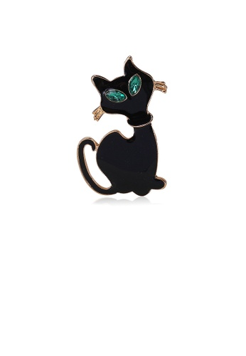Glamorousky green Simple and Cute Black Cat Brooch with Green Cubic Zirconia 4D02BAC71BFBE7GS_1