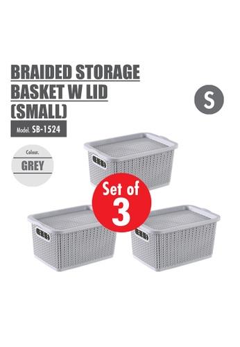 HOUZE grey [SET OF 3] HOUZE Braided Storage Basket with Lid (Small) 38AA4HL80F215FGS_1