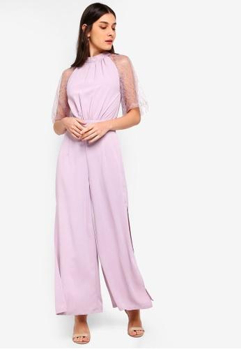 ZALORA 紫色 蕾絲袖連身褲 AB970AA76D308FGS_1