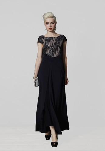 時尚高雅亮片拼接針織布長esprit 衣服禮服, 服飾, 長洋裝
