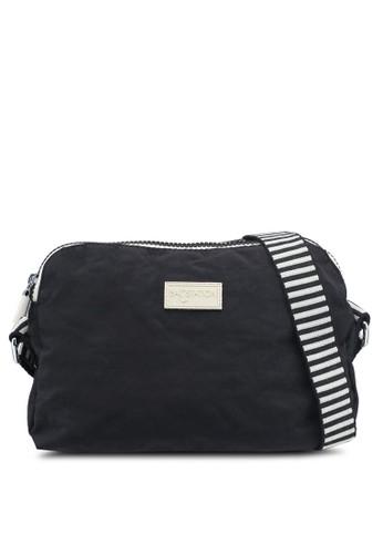 Bagstationz black Crinkled Nylon Dual Zip Sling Bag With Zebra Strap 4A097AC30DF340GS_1
