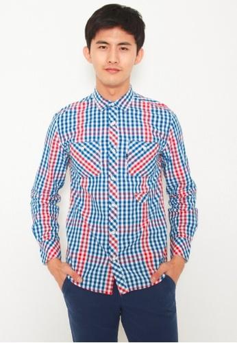 DENIZEN red DENIZEN Men's Regular Fit Long Sleeve Shirt - Blue Red DZ-39011-0325 4C9B9AA2ED8C2DGS_1
