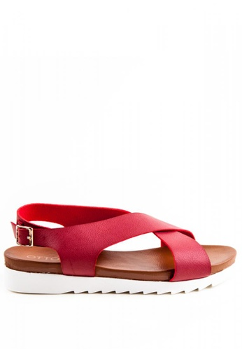 Otto red Criss Cross Sandals OT407SH0J1QKPH_1