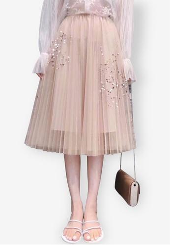 Sunnydaysweety beige Amethyst Mesh Skirt FFCA0AA7FCC0E6GS_1