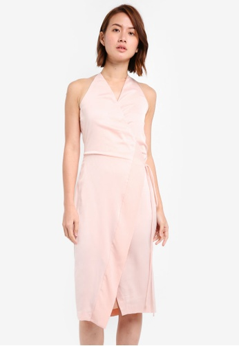 ZALORA pink Satin Paneled Wrap Dress 700F0AAD786C75GS_1
