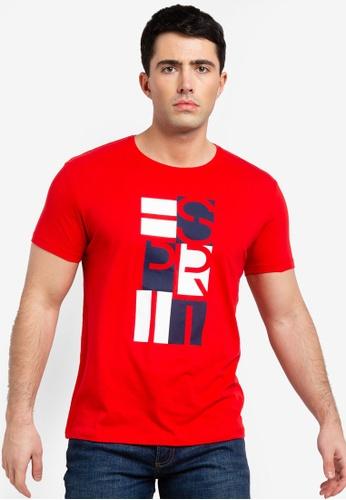 ESPRIT 紅色 短袖T恤 5DEFBAA41F8D13GS_1