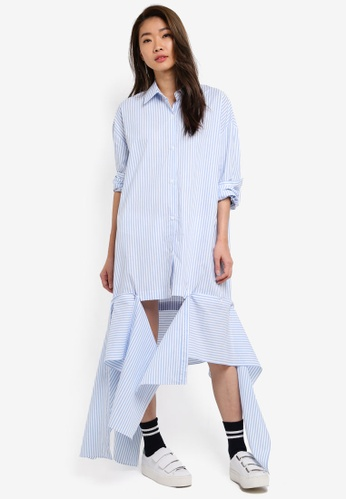 Stylenanda blue Uneven Hem Oversized Shirt Dress CD407AA0337909GS_1