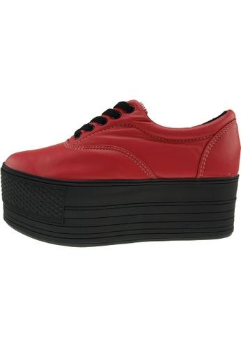 Maxstar 紅色 新款韩国鞋C60-5H-TC時尚皮革布混合女紅色 US Women Size MA345SH44HGXTW_1