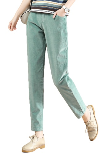 A-IN GIRLS green Corduroy Pants With Elastic Waist E1344AA3FDACD7GS_1
