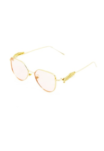 Amora Scarlett gold Wings Hexa Eyewear in Pink Lens See Through AM058AC0SY1XMY_1