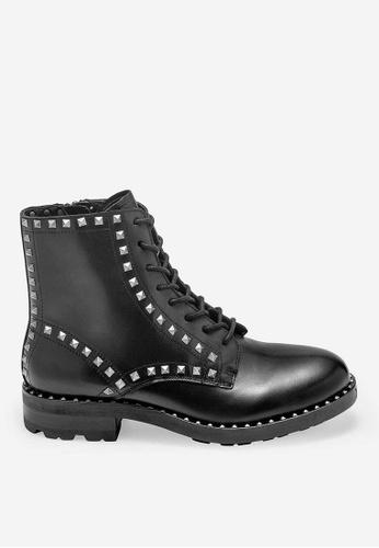 ASH black Wolf - Black Rivets embroidery Biker Boots 666A9SH9DC12B9GS_1