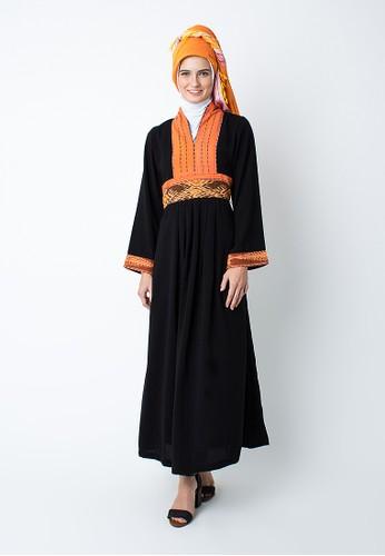 Silmaa black Silmaa Gamis Strip Tenun Oranye Mix SI713AA60FITID_1