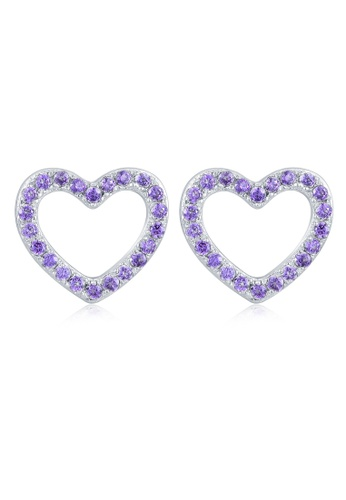 MBLife silver 925 Sterling Silver Purple CZ Tiny Heart Earrings 5F3BCAC6CB9787GS_1