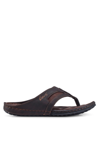Louis Cuppers 褐色 Stitch Detail Sandals BE503SH7DB50F5GS_1