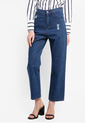 Zalia blue High Rise Straight Leg Jeans BDDA6AAAE9F484GS_1