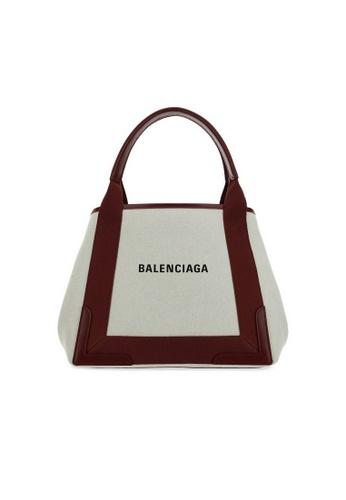 BALENCIAGA white Balenciaga Navy Cabas S Tote Bag in White/Red B947CACF06F756GS_1