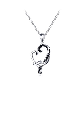 Glamorousky black 925 Sterling Silver Fashion Heart-shaped Pendant with Cubic Zirconia and Necklace C593DAC93484E0GS_1