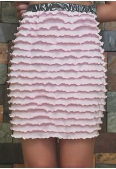 Ruffle Pink Pencil Cut Skirt with Metallic Dark Silver Waist Band