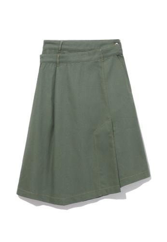 GREENISHPINK green Asymmetrical wrap skirt. 63998AABF29CE5GS_1
