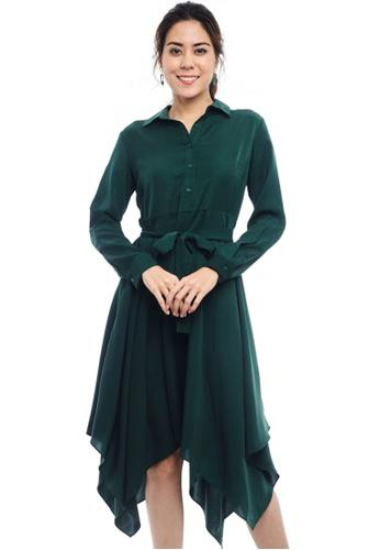 Nichii green Buttoned Waist Tie Asymmetrical Dress 683E8AA95C6910GS_1